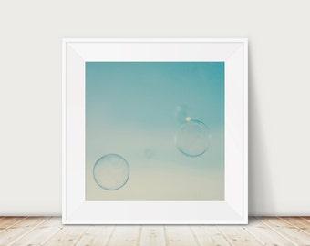 SALE bubble photograph mint decor nursery wall art bathroom photo abstract bokeh rainbow bubble teal home decor