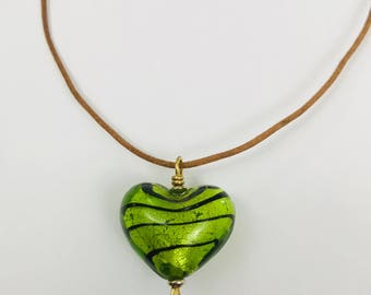 Glass Heart Leather Necklace Hand Crafted