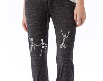 Skeleton crop pants, Yoga pants, Dancing Skeletons Halloween Capri Pants Grateful Dead