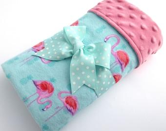 Baby Stroller Blanket - Pink Flamingo Baby Blanket - Baby Girl Cotton Flannel Blanket - Aqua and Pink Baby Blanket - Pink Minky