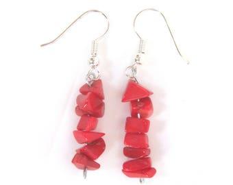 Red coral earrings, shell earrings