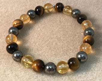 FINANCIAL FOCUS: Citrine Pyrite & Tigers Eye 8mm Round Bead Stretch Bracelet with Sterling Silver Accent