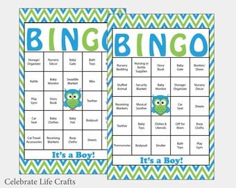 60 Owl Baby Shower Bingo Cards -  60 Prefilled Bingo Card - Boy Baby Shower Game - Blue Green Chevron - Printable Download - B2002
