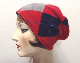 Pure Cashmere Rollup hat, slouch beanie, red and navy argyle. Reversible. FREE SHIPPING in the US