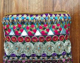 Embellished Bohemian Clutch. Beaded Purse.