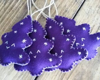 Handmade Wool Felt Christmas Decoration - Purple Christmas Tree