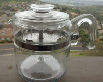 Vintage Pyrex Coffee Stove Top Glass Perculator