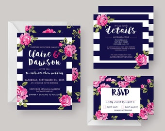 "PRINTED or DIGITAL Wedding Invitation Suite—""Claire""—Modern Floral, Pink & Navy Floral, Wedding"