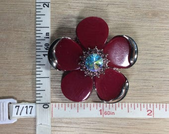 Vintage Silver Toned Red Pedals Flower Pendant Pink Rhinestones AB Crystal Used
