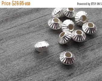 SAVE 20% 100 Pieces Sterling Silver Fluted Hogan Style Spacer Beads 5.4x4x1.6mm Hole MADE In USA