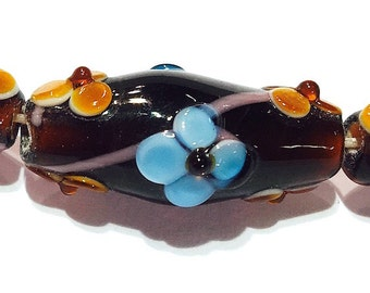 Brown Oval Lampwork Glass Beads, 10 pieces