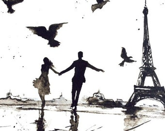 Romantic Wall Art, Paris Love Romance, Art Print from Original Watercolor Painting, Watercolor Illustration by Lana Moes, Paris je t'aime