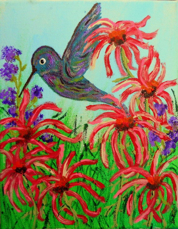 "HORTENSE Acrylic on 8x10"" Stretched Canvas Framed Hummingbird Outsider Folk Art birds African American Artist Stacey Torres wildlife nature"