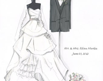 Custom Bride & Groom Hand-Drawn Illustration