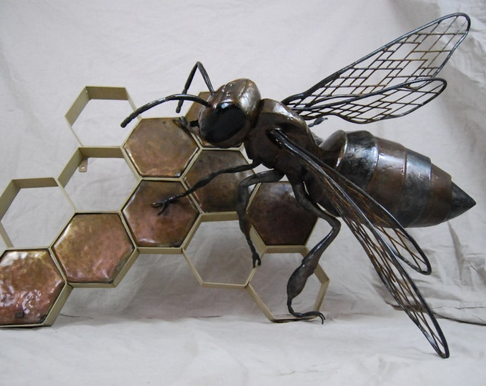 Custom Outdoor Metal Bee Sculpture with Honeycomb Made to Order By Jacob Novinger