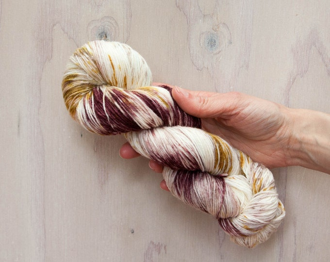 Hand dyed yarn, merino yarn, nylon yarn, sock yarn, hand dyed sock yarn, speckled yarn, pink yarn, mauve yarn, brown yarn, fingering yarn
