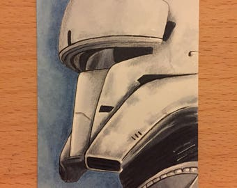 Star Wars Rogue One Tank Commander Sketch Card