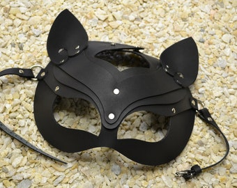 Leather Cat Mask BDSM Kitten Mask Catwoman Costume Woman Mask  Halloween Mask Adult Play Real Leather Fetish Masquerade Mask Leather Lining