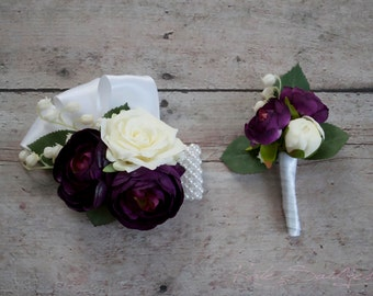 Wedding Boutonniere and Corsage Set - Plum Purple and Ivory Rose and Ranunculus Boutonniere and Corsage