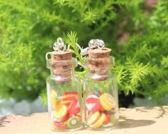 Multi fruit bottle Earrings