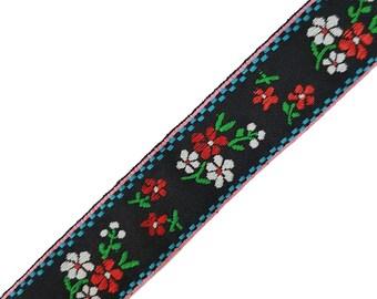 Black Floral Embroidered Ribbon Trim, Folk Flowers Knitted Ribbon Trim