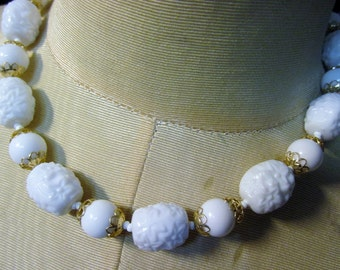 Vintage White Floral Beaded HONG KONG Necklace