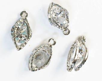 Bulk 20 pcs of Cubic Zirconia  platinum color charm 15x8mm, horse eye shape, antique silver charm