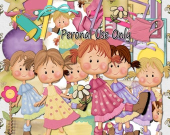 Doll scrapbook, Girl Scrapbook, Instant download, Child Scrapbook, Garden Scrapbook, digital scrapbook