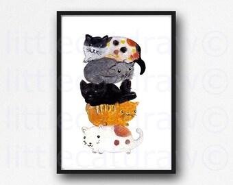 Cat Stack Watercolor Painting Print Cat Print Wall Art Cat Lover Gift Living Room Decor Wall Decor Cat Wall Art Print Black Cat Gray Cat