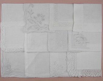 Vintage Hanky Lot,Wedding Hanky Lot,One Dozen White Wedding Vintage Hankies Handkerchiefs (Lot #98)