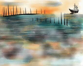 Boat Decor, Ocean Print, Beach Decor, Coastal Decor, Coastal Wall Art, Coastal Art, Coastal Wall Decor, Coastal Prints, Boat Wall Art, Boat
