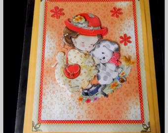 "card 3D ""girl with Red Hat"""
