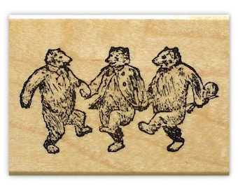 DANCING BEARS, music rubber stamp, dance party, animal, hoedown, Sweet Grass Stamps No.10