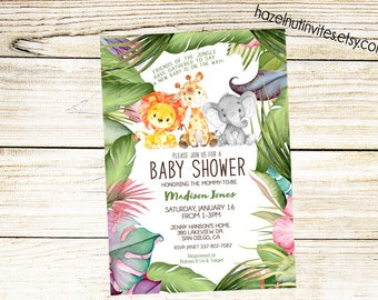 Jungle baby shower Invitation - Animal Invitation, elephant, giraffe, lion, baby shower invite or sprinkle _2024Neutral
