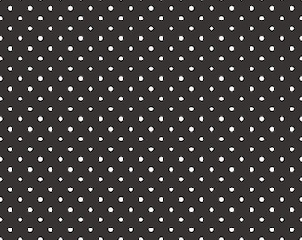 20% OFF Riley Blake Basic White Swiss Dots on Black
