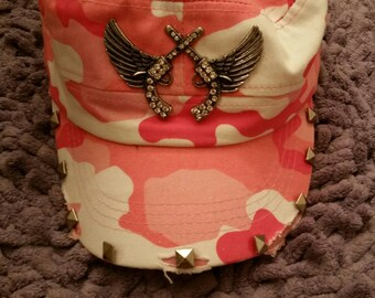One of a Kind Gorgeous Angel Winged Rhinestone Pistols Pink Camo Distressed Military Cadet Hat