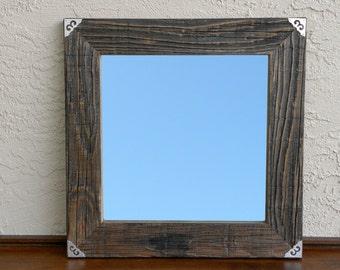 Reclaimed Wood Mirror with Silver Corners. Rustic Mirror. Framhouse Mirror. Framed Mirror. Mirror Wall Decor. Bathroom Mirror. 20x20