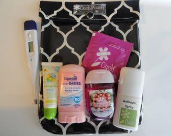 Black & White Geometric Ouch Pouch First Aid Medical Cosmetic Organizer Diaper Bag Purse Insert Dorm Toiletries 6x8 Black Quatrefoil