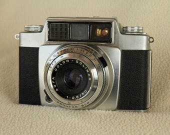 AGFA SILETTE SLE Vintage 35mm Camera with f2.8 50mm Solinar Lens and Original Leather Case
