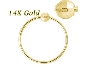 Diamond Cut Beaded nose ring 14K Solid Yellow Gold 22G 6mm-8mm Soldered 1 Side (Made in USA)