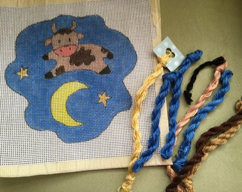 Over The Moon - Handpainted Needlepoint Canvas and Overdyed Threads