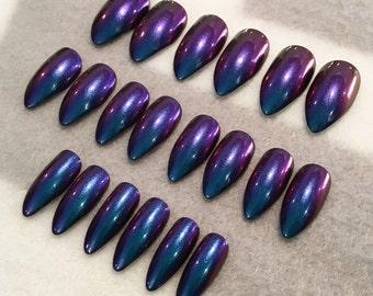 Purple-Blue Duo Chrome Fake Nails * Faux Nails * Glue On Nails * Purple Nails * Magenta Nails * Blue Nails * Color Shift * Chameleon * Gloss