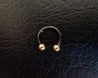 "Black and Gold Small Septum Horseshoe Ring 16g 5/16"" 3/8"" Daith Snug Orbital Helix Tragus Lip Ring 316lvm Steel"