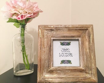 Jeez Louise / funny finished framed cross stitch / floral embroidery / old lady saying / best friend gift / Mothers Day gift / home decor