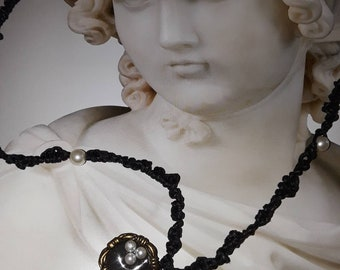 Black wax cotton cord hand knotted with faux pearls