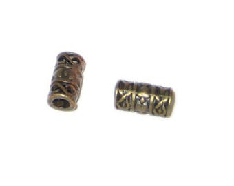 12 x 6mm Bronze Metal Spacer Tube - 6 beads