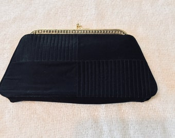 50's Black crepe eving clutch purse