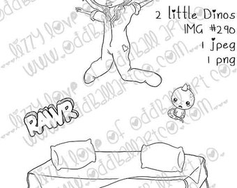 Instant Download Big Eye Kawaii Dino Girl Jumping On The Bed Digital Stamp Coloring Page ~ 2 Little Dinos Image No. 290 by Lizzy Love