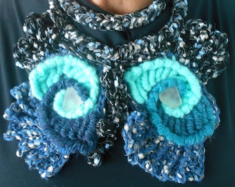 Freeform Crochet Necklace Collar with Sea Glass