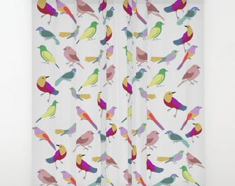 Birds window curtain-Custom panels-Cool bedroom curtain-Children curtain-Colourful window valances-Modern curtains-Curtain panels-Kids room